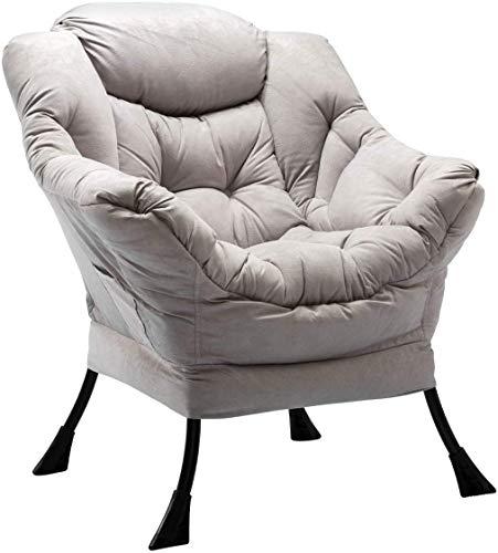 HollyHOME Relaxsessel Sessel Relaxliege Freizeitsofa Chaiselongue Lazy Chair Relax Loungesessel mit Armlehnen und Taschen, Grau