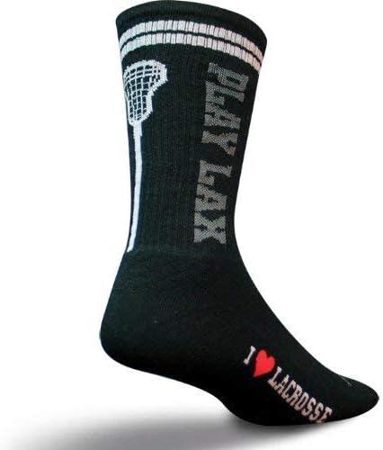 SockGuy Crew 8in Play Lacrosse Black Socks