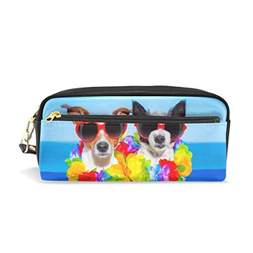 Zomer Honden in Liefde Potlood Cases voor Meisjes en Jongens, Pen Bag Stationery Make-up Pouch Grote Capaciteit Waterdicht voor Vrouwen