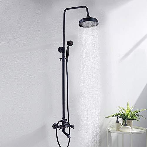 Onyzpily Duscharmatur Duschsäule 3 Funktionen Duschsystem Schwarz Duschset Regendusche inkl. Kopfbrause Handbrause verstellbarer Duschstange Dusche Duschpaneel Duschgarnitur