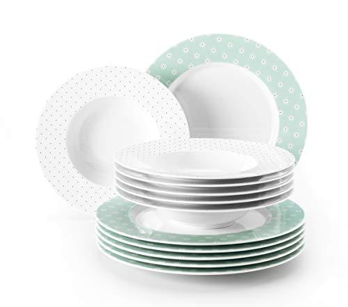 Seltmann Weiden Tafelservice 12-teilig weiß | Set für bis zu 6 Personen | Serie No Limits | beinhaltet je 6 Speiseteller und Suppenteller, Hartporzellan