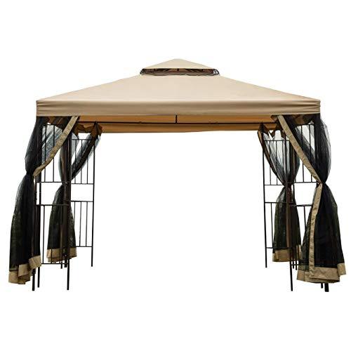 WSN Garden Gazebo, Polyester Fabric 10' x 10' Patio Backyard Double Roof Vented Gazebo Canopy