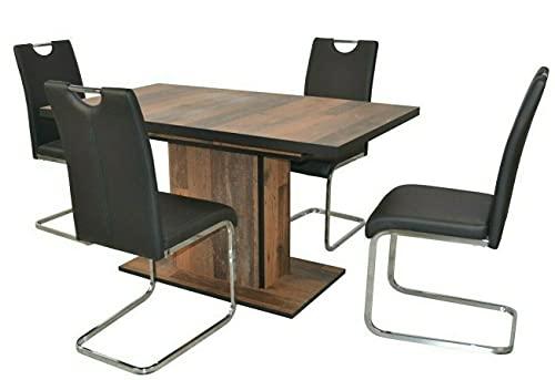 WXYQY 4X Schwingstuhl Kunstlederbezug schwarz-Chrom Freischwinger Esszimmerstuhl schwingstuhl