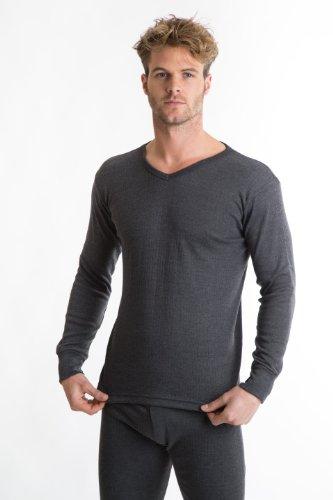 RP Collections - T-shirt à manches longues et col V - sous-vêtement thermique - homme - gris foncé - L [poitrine 101,6-106,6 cm]
