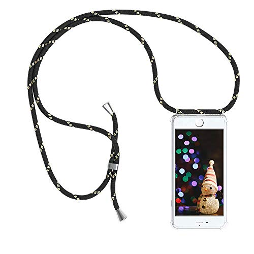 YuhooTech Handykette Hülle mit Band Kompatibel mit iPhone 8 Plus Handyhülle mit Kordel zum Umhängen - Silikon Handytasche Schutzhülle mit Schnur Handyhülle Case mit Kette zum umhängen, Schwarz Gold