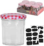 MUQU® Set of 6 Jam Jars, with 40 Chalkboard Labels and Chalk Pen - 300ml | Wide Mouth Glass Preserve Pots | Screw Top Red Gingham Lids | Airtight Pickle Jars | Marmalade Jam Chutney Jars (300ml)