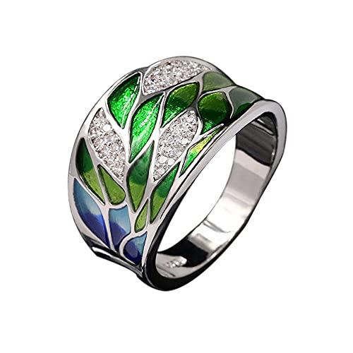 Anillo mujer plata de ley 925 Ancho, con hojas de esmalte verde esmeralda hecho a mano y circonita cubica brillante,anillo plata mujer grande, Talla-6 con caja regalo (anillo)