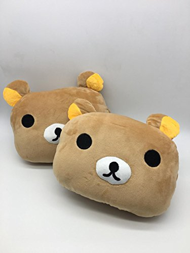 Rilakkuma (AP Creations exclusive) Rilak kuma Seikatsu San-X Korilakkuma Brown Bear Cub Light Color Logo Emblem Cartoon Character Neck Pillow Plush Cushion Pad Head Support Neck Rest Car Headrest