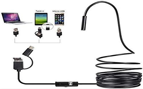 Endoscopio 3 en 1 tipo C USB de inspección para cámaras de alta definición industriales, endoscopio impermeable