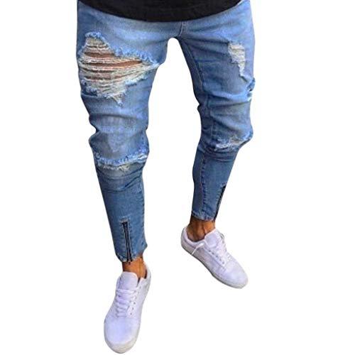 MaoDaAiMaoYi broek heren jeans Destroyed slim fit broek destroyed jeans heren zomer mode living broek heren jogger jeans met gaten Chern zwart stretch heren Nner slim biker jeans broek