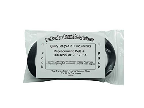 Compatible Belts for Bissell PowerForce Compact & EasyVac Lightweight Vacuum Cleaners Using Part #1604895 (4 Belts)