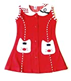 little PANDA Baby Girls' Knee Length Dress (Red_2-3 Years)