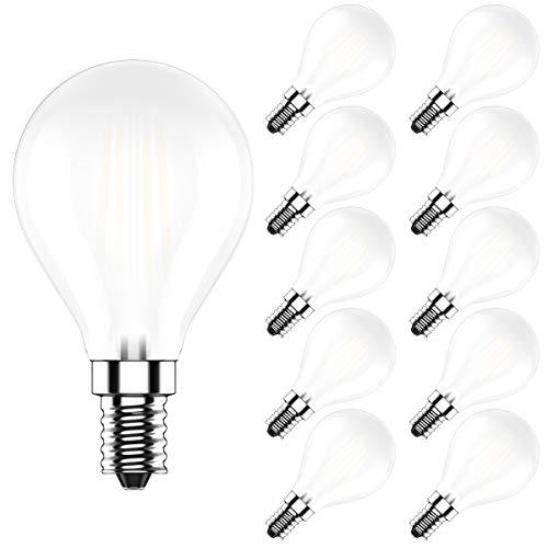 LED G45 Lampe in Tropfenform mit E14-Sockel,Dimmbar,4W Ersetzt 40 Watt,Warmweiß 2700 K, Ultrahell 400LM,CRI>80,10er-Pack
