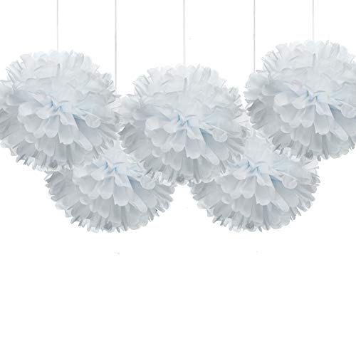"16"" White Tissue Pom Poms, Paper Flower Hanging Party Decorations, Pack of 5"