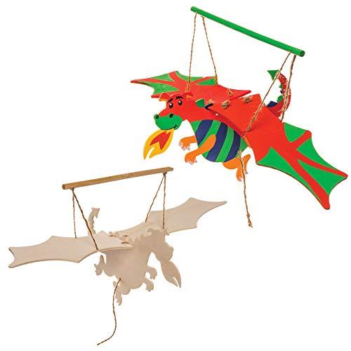 Baker Ross Bastelsets Holzfiguren Drache (3er-Pack) Bewegliche Puppen mit Flügelschlag für Kinder zum Basteln im Klassenzimmer, für Regentage, Kunsthandwerk oder Vereine.