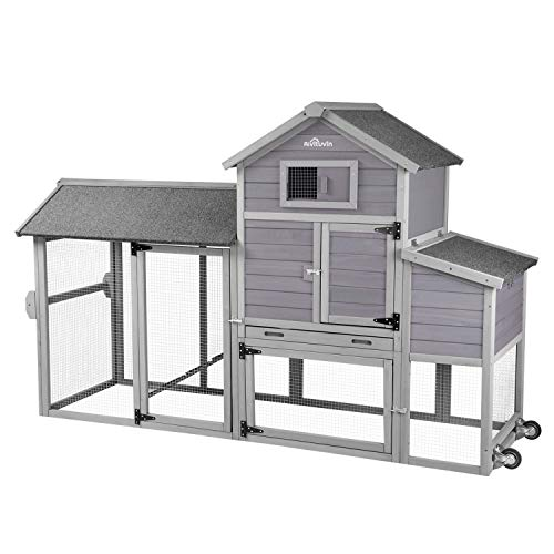 "Aivituvin 80"" Movable Chicken Coop with Wheel and Run, Large Backyard Hen House with Nesting Box"