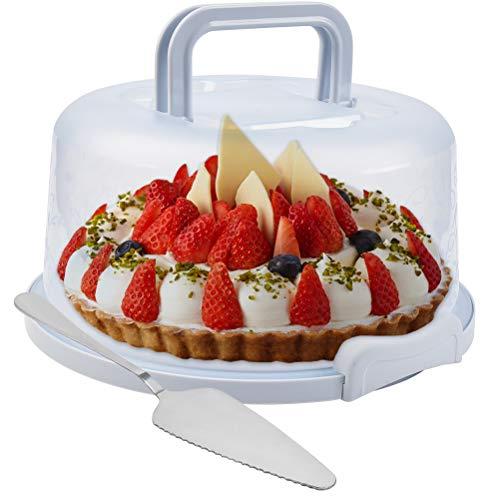 QLOUNIU Cake Carrier For Up To 10 inch x 4 1/2 inch Cake, Cake Holder Cake Keeper Cake Saver with Collapsible Handles Carrier for Bundt Cakes, Pie Carrier, Cheesecake Carrier with Cake Spatula