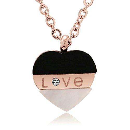 AnazoZ Collar Acero Inoxidable Collar de Mujer Collar Colgante Grabado Love Corazón Circonita Blanco Collar Mujer Collar Oro Rosa Mujer