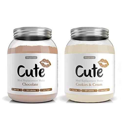 CUTE NUTRITION® Diät-Shake zum Abnehmen + Energy Boost | 2x 500g | Mahlzeitenersatz Shake Schokolade + Kekse & Sahne inkl. Trainingsplan | Protein-Pulver Low Carb | Eiweißpulver GVO-frei
