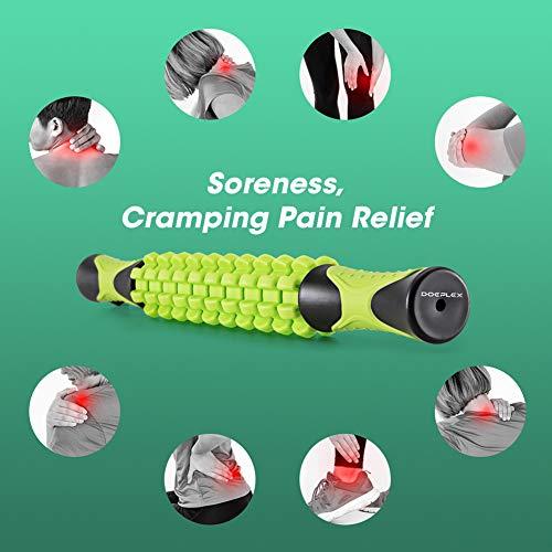 Doeplex Bastoncini per Massaggi, Bastone per Massaggio da 45cm Roller Massage Stick per Recupero della Schiena, Muscolare, Crampi, Dimensione da Viaggio (Verde)