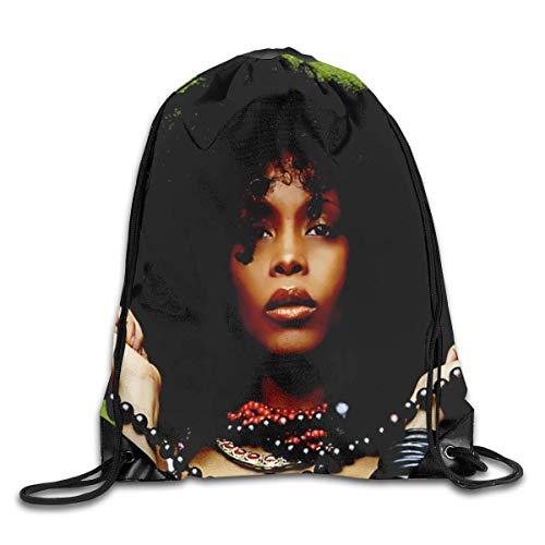 JHUIK Drawstring Bag Backpack,Erykah Badu Mode Sac à Dos Design épaule Sac à Cordon Homme Femme Sacs Blanc Taille Unique