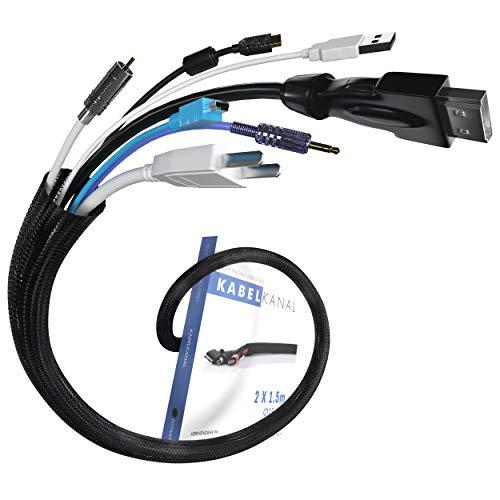 Kabelschlauch schwarz - selbstschließend - ø25mm cable sleeve - 2x1,5m Stücke - sammelt Kabel - PC und Schreibtisch Kabelmanagement - Haushalt und Büro - Kabelschutz Tiere - Kabel schlauch