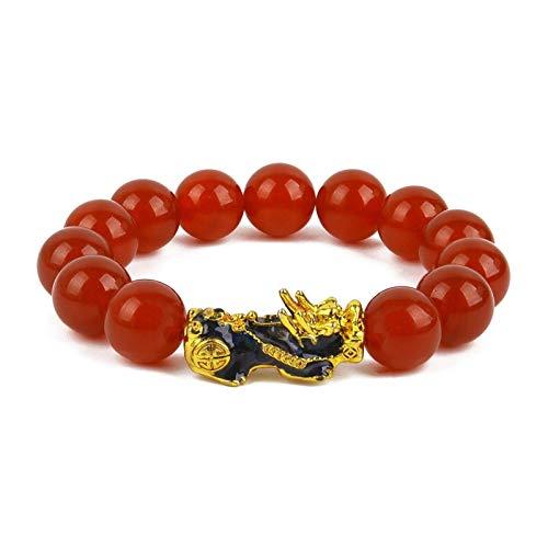 XYBB Pulseras de Piedras Pulsera Hombres Mujeres Unisex Feng Shui Pi Xiu Obsidiana Pulsera Oro Riqueza Buena Suerte Pixiu Mujeres Pulseras (Metal Color : B-Beads Size 14mm)