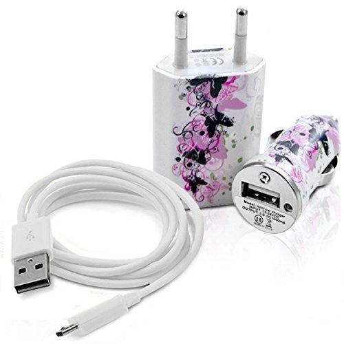 Seluxion–Cargador casa + mechero USB + Cable de Data cv14para LG: E900Optimus 7/E960Google Nexus 4/E975Optimus G/GD550P