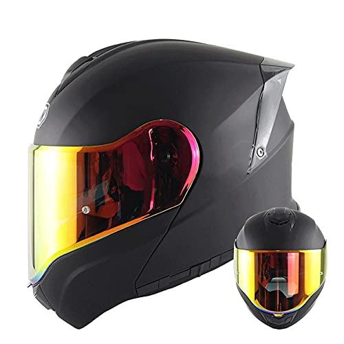 Casco Modular para Motocicleta Casco Integral Dot/ECE Homologado Cascos Moto integrales para Mujer Hombre Adultos con Doble Visera (Color : Black C, Size : XL/X-Large 59-60cm)