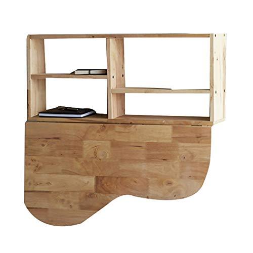 Wandklaptafel klaptafel met opbergruimte, uitklapbare keukentafel eettafel aan de hangende en eettafel, massief hout, multifunctioneel, eenvoudig op te vouwen en schoon te maken ruimte besparen