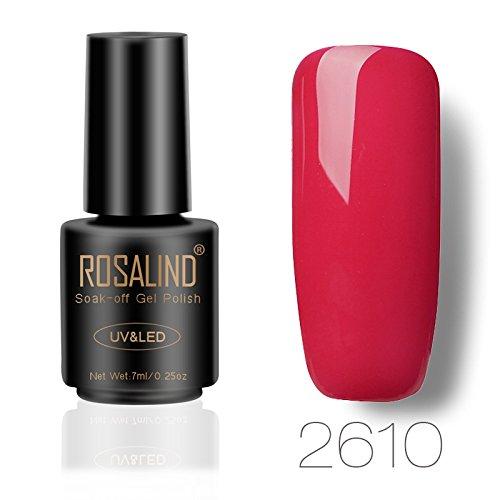 ROSALIND gel esmalte semipermanente de uñas remojo UV LED esmalte manicura pedicura salón 7 ml (rojo 2)