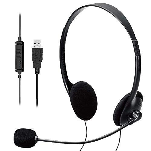 USB-Headset, PC-Headset, Computer-Headset mit Geräuschunterdrückung und Audio-Steuerungsmikrofon, super leicht, kabelgebundenes Headset für Skype-Call-Center, kristallklares Chat