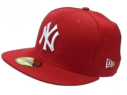 New Era Erwachsene Baseball Cap Mütze Mlb Basic New York Yankees 59Fifty Fitted,10011573,Rot, 6 7/8