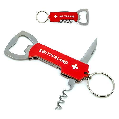 TopSpirit Schlüsselanhänger Multitool 3 in 1 - Multi Tool mit Messer, Flaschenöffner und Korkenzieher 11 cm