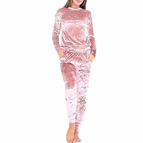 QIYUN.Z Femmes Casual Sport Velours Style Manches Longues Tops Pantalons 2Pcs Survêtement
