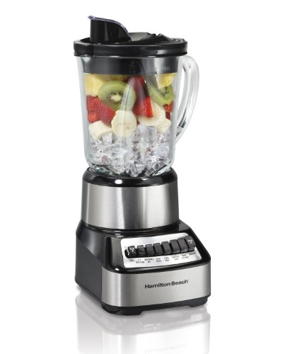 Hamilton Beach Wave Crusher Blender with 40 Oz Glass Jar and 14 Functions for Puree, Ice Crush, Shakes and Smoothies, Stainless Steel (54221)