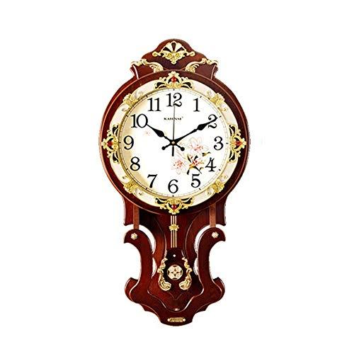 ZXR2088 Violine Kreative Holz Uhr, EIN Großes Wohnzimmer Stilvolle Europäische Mute Wanduhr, Stündlich Uhr,Keine Batterie (Color : A-Time Report, Size : L)