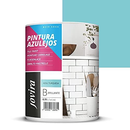 PINTURA PARA AZULEJOS AL AGUA Da una imagen nueva a tu cocina y baño. (750 ml, AZUL TURQUESA)