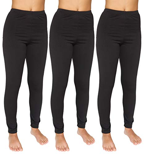 3-Pack: Womens Thermal Underwear Pants Set Fleece Lined Leggings Warm Compression Tights Base Layer Essential Workout Clothing - Set 1, XL