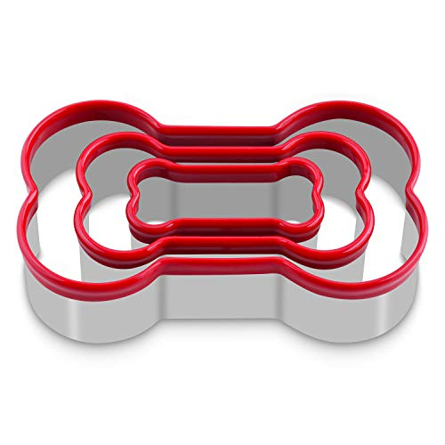 FASAKA Bone Cookie Cutters Set, 3 Piece Dog Bone Biscuit Cutters Set with Red Environmental PVC for Baking