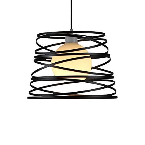 JIALH Moderne Eisen Kronleuchter, Kreative Spirale Design Wohnzimmer Schlafzimmer Korridor Bar Kronleuchter E27 * 1 Stecker Hängenden Linie 100Cm Einstellbar,Black