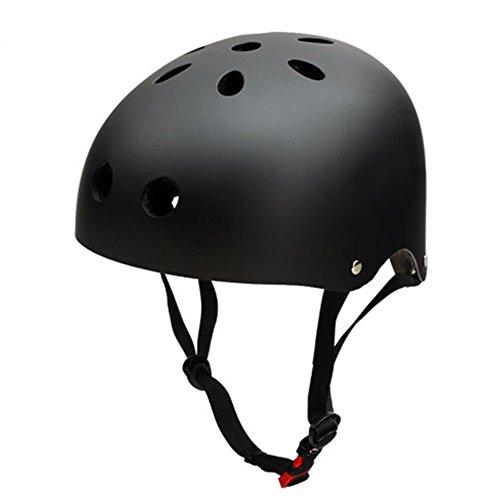 Ators Coque en ABS réglable Casque de sécurité pour vélo/Skateboard/Trottinette/Skate Inline Skate/Roller de Protection Convient pour Enfant/Junior/Adulte (Black, M 53-56CM)