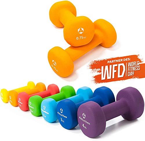 Pesas de neopreno »Peso« / Mancuernas disponibles en diferentes pesos y colores / 0,75 kg, naranja