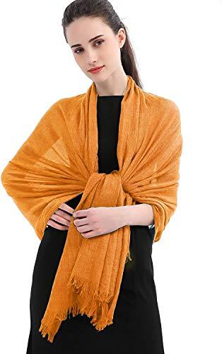 Longwu chales de abrigo de bufanda sólida de lino de algodón para mujeres, señoras, hombres (100 cm x 190 cm), tamaño súper grande, para todas las estaciones de Navidad