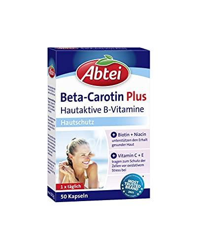 Abtei Beta-Carotin Plus - Nahrungsergänzungsmittel mit hautaktiven B-Vitaminen für gesunde und schöne Haut - Hautschutz - 1 x 50 Kapseln