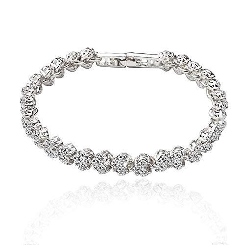 Pulseras De Tenis con Encanto para Mujer Pulsera De Diamantes De Imitación con Cierre Plateado