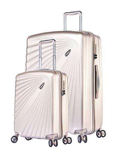 ABISTAB VERAGE Kinetic 4 Doppel-Rolle Leichter TSA Hartschalen-Koffer erwiterbar, 2er Set S-Handgepcäk+M(24\'\'), ABS/PC Trolley, Sicherheits-Reißverschluss, Champagner