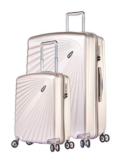 ABISTAB VERAGE Kinetic 4 Doppel-Rolle Leichter TSA Hartschalen-Koffer erwiterbar, 2er Set S-Handgepcäk+M(24''), ABS/PC Trolley, Sicherheits-Reißverschluss, Champagner