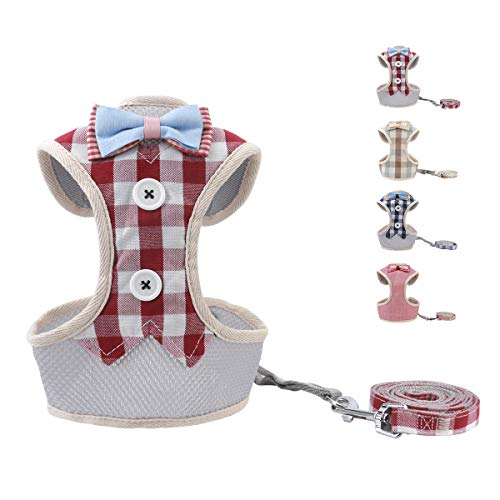 VOOPET Puppy Harness Easy to Put On & Take Off Step in Dog Harness, Puppy Padded Mesh Front Vest with Leash, Adjustable Pets No-Pull Walking Harness with Cute Bows for Small Dogs and Cats