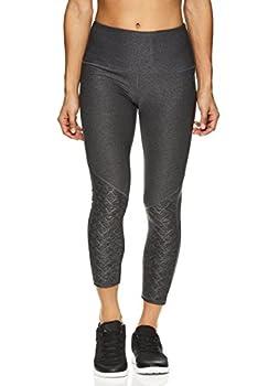 HEAD Women s High Waisted Capri Leggings - Crop Activewear Yoga & Running Pants - Charcoal Heather Title Small